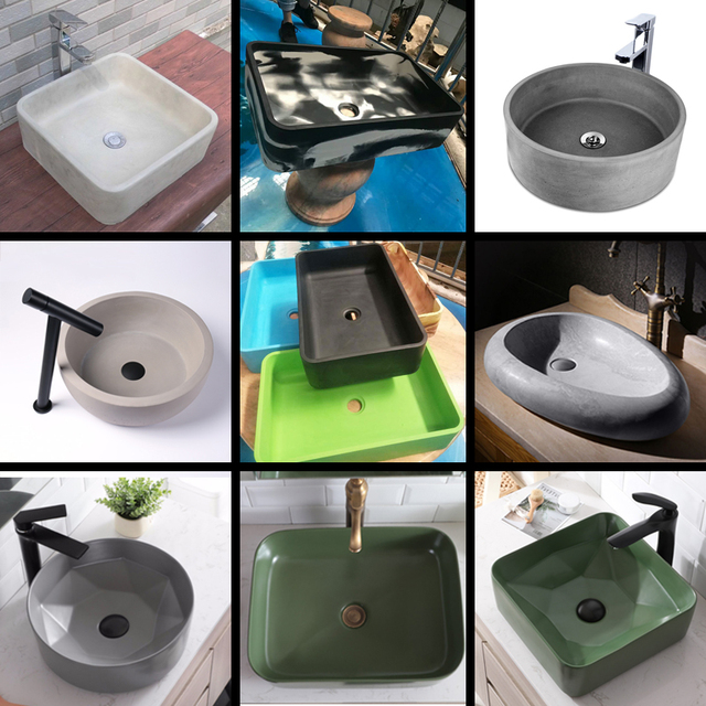 circular concrete sink silicone mold bathroom kitchen square sink mold home decoration cement rectangle mold