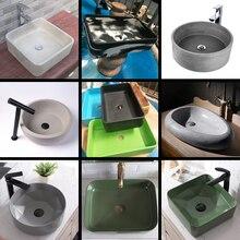 Molde de concreto retangular para pia, forma de silicone circular para pia do banheiro, cozinha, molde retangular para decoração de casa
