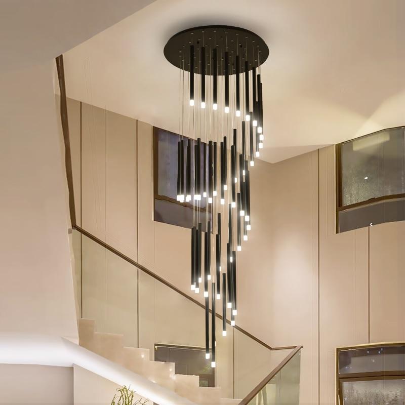 Modern Led Chandelier Minimalist Duplex Floor Fashion Atmosphere Nordic Living Room Lamp Villa Spiral Staircase Long Hanging