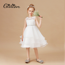 Kids Flowers Dresses For Girls Lace Birthday Party Dress Children Christmas Sleeveless Princess Dress Wedding Party