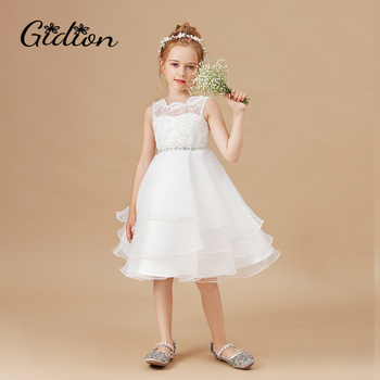 Kids Flowers Dresses For Girls Lace Birthday Party Dress Children Christmas Sleeveless Princess Dress Wedding Party gorgeous children girls black grey birthday celebration evening party flower princess lace dress kids model catwalk host dress