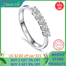LMNZB de plata maciza 925 cinco 3mm Sona diamante sola fila Simple brillante anillo de mujer romántica Starlight dedo joyería fina LR392(China)