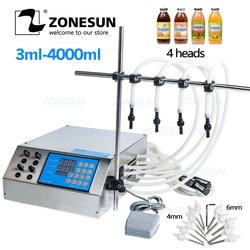 ZONESUN 4 رؤساء السائل العطور عصير المياه زيت طبيعي مضخة التحكم الرقمي الكهربائية السائل ماكينة حشو 3-4000 مللي