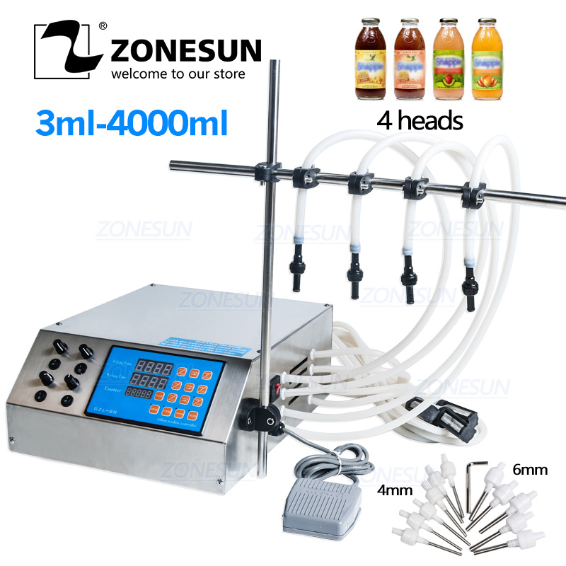 ZONESUN 4 Heads Liquid Perfume Water Juice Essential Oil Electric Digital Control Pump Liquid Filling Machine 3-4000ml