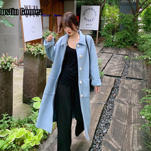 цены New Coming Long Single-breasted Pure Color Wool Coat Warm Thicken Cashmere Winter Coat Women Long Sleeve Turn-down Collar Coat