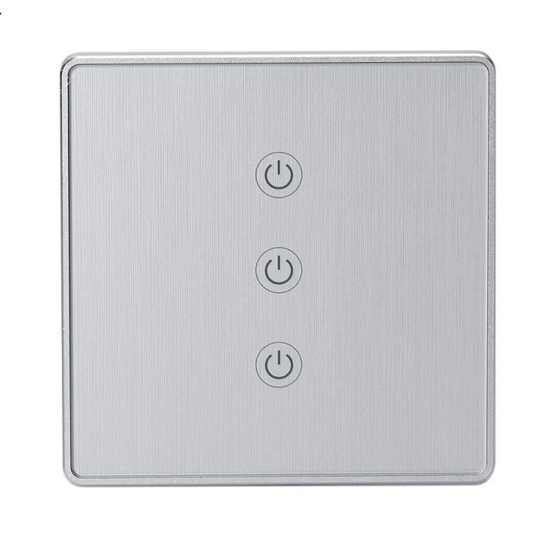 Métal brossé élégant WiFi interrupteur intelligent applique murale télécommande contrôle tactile pratique universel UK & EU commutateur intelligent