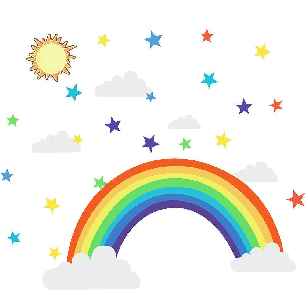 Cartoon Regenbogen Wand Aufkleber Für Kinder Zimmer Wohnzimmer Schlafzimmer Dekorationen Tapete Bunte Sterne Kinder Schule Liefert
