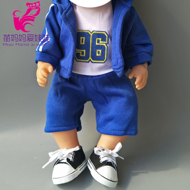 4 In 1 Set Sport Clothes + Shirt + Pants + Baseball Cap Set For 43cm  Baby New Born Doll Girl For 18 Inch Doll Clothes Set