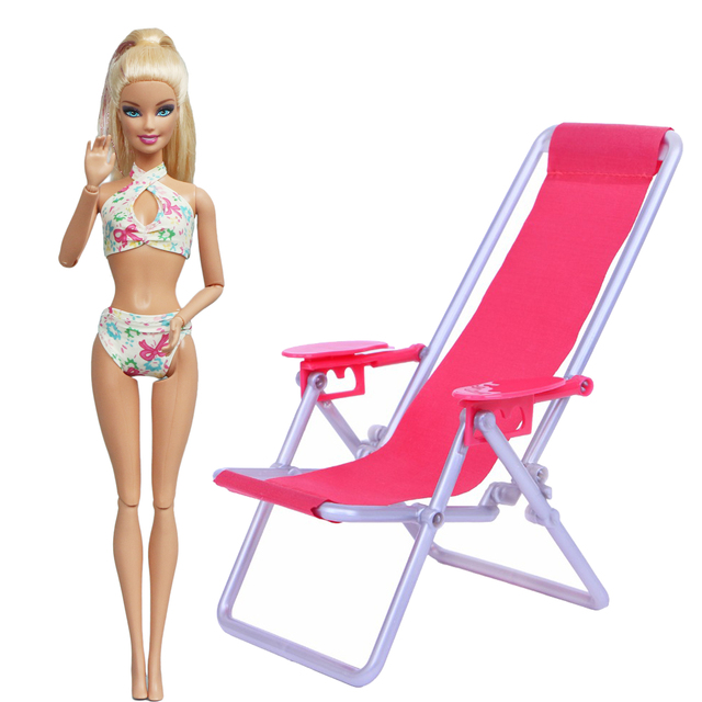 2 Pcs / Lot = 1x Swimsuit Sexy Bikini Black White Tops + 1x Beach Chair 1:12 Miniature Furniture Clothes For Barbie Doll Kid Toy