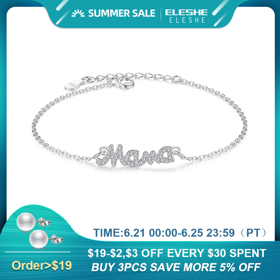 ELESHE 2019 New Fashion Jewelry Real 925 Sterling Silver Crystal Mother Mom Mama Charm Bracelets For Women Mother's Day Gift