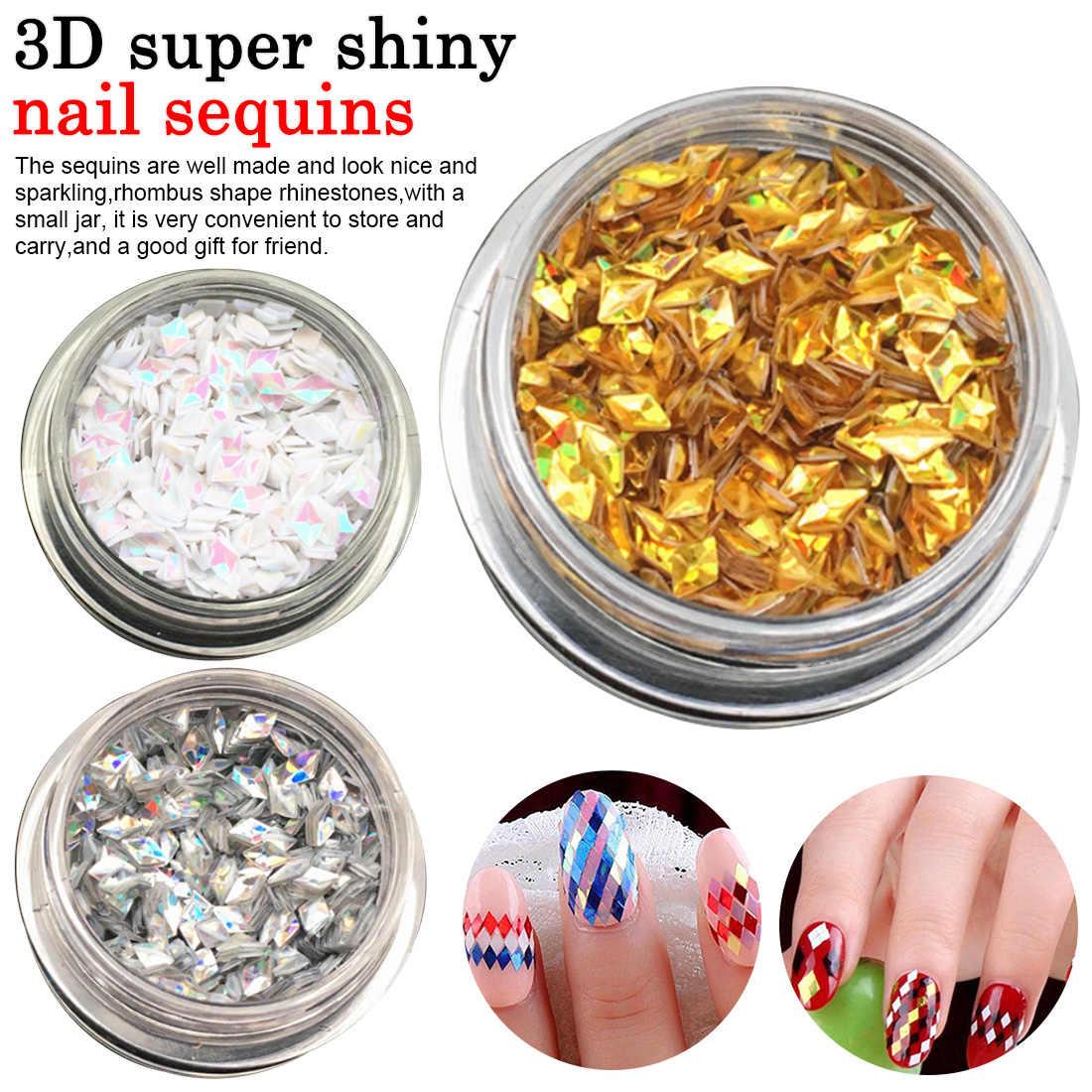 3D Super Mengkilap Segitiga Paillette Nail Art Dekorasi AB Bunglon Kuku Glitter Payet 1 Box