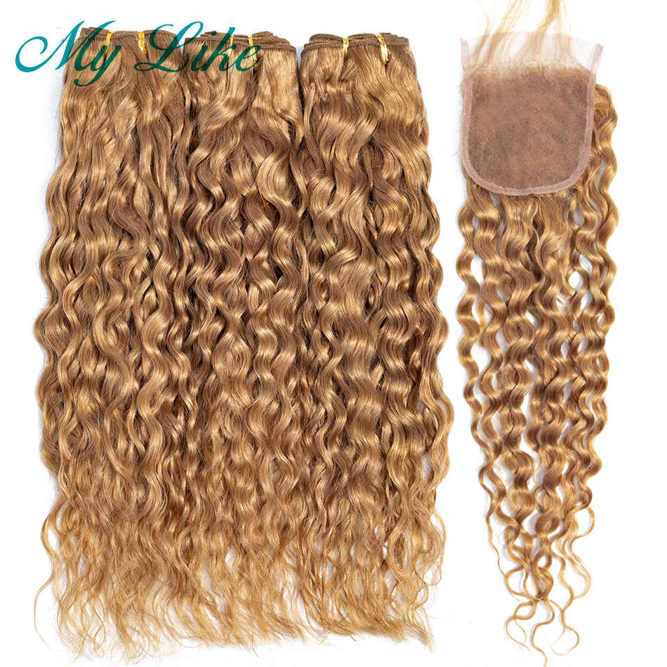My Like Honey Blonde Water Wave Bundles with Closure 100% Non-remy Human Hair Bundles with Closure Brazilian Hair Weave Bundles