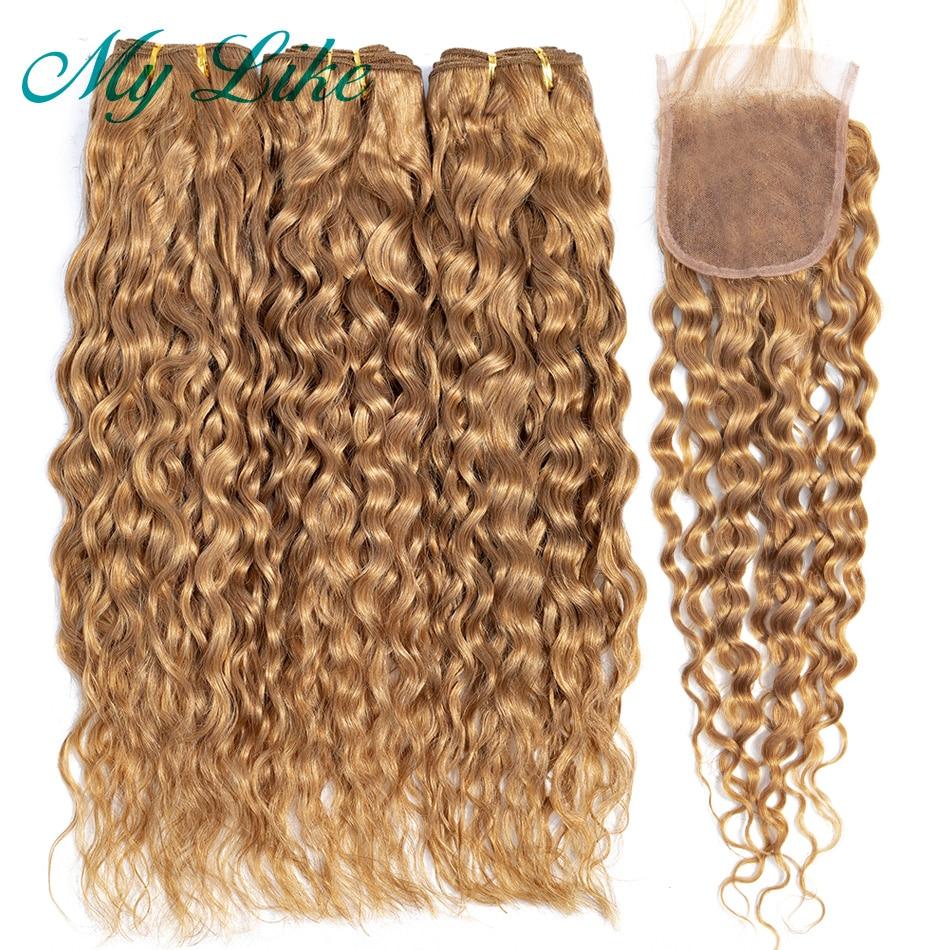 My Like Honey Blonde Water Wave Bundles With Closure 100% Non-remy Human Hair Bundles With Closure Brazilian Hair Weave Bundles