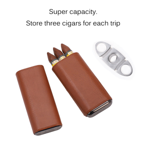 Leather Cigar Case Humidor Portable Pocket 3 Tube Holder Travel Cigar Humidor Box Storage Cigars Accessories