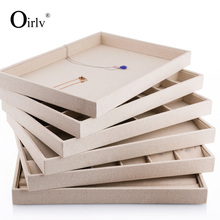 Oirlv Luxury Beige Linen Jewelry Display Tray for Ring Necklace Pendant Earring Combination Showcase Storage Jewelry Organizer