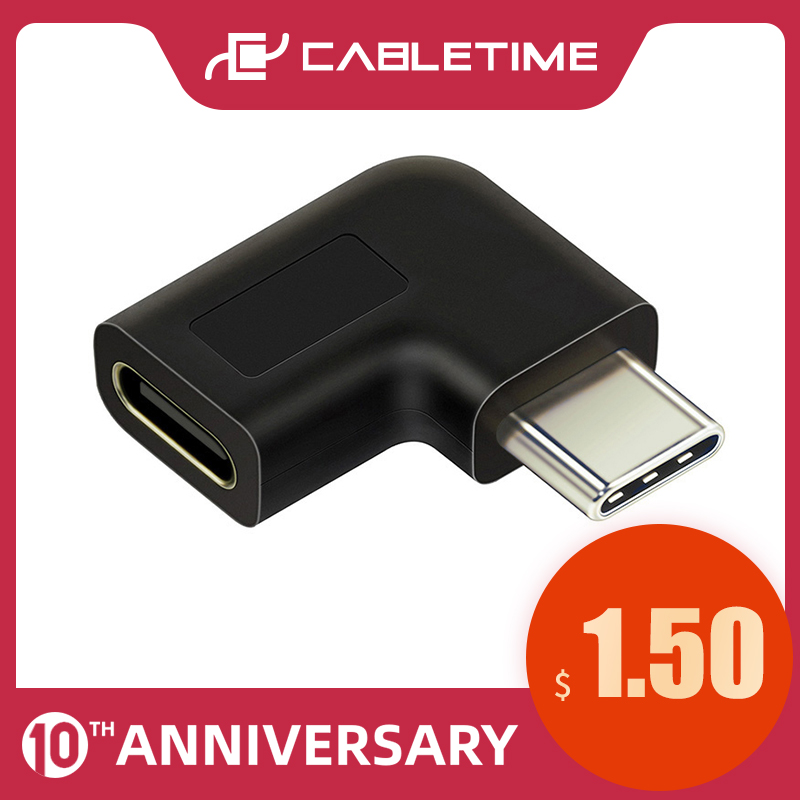 CABLETIME USB Type C Adapter Type-C OTG USB C Male To Female 90 Degree For Xiao Mi Huawei Mate Pro Samsung USB-C Spliter C015