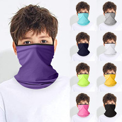 Children's Solid Ear Loops Bandana Neck Scarf Gaiter Tube Headwear For Boys And Girls Sport Face Cover Scarves Sun Protection