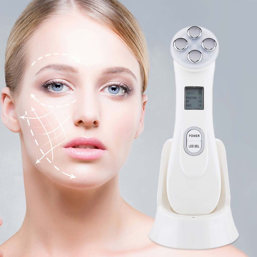 5 In1 RF EMS Electroporation LED Photon Light Therapy Beauty Device Anti Aging Face Lifting Tightening Eye Facial Skin Care Tool