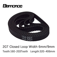 3D Printer 2GT timing belt Pitch length 320/336/340/348/350/376/390/392/396/400/406mm width 6/9mm in closed GT2 synchronous belt