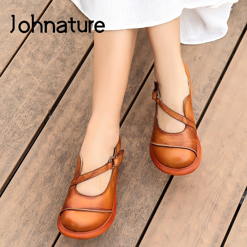 Johnature Wedges High Heels Genuine Leather Pumps Women Shoes 2020 New Spring Hook & Loop Round Toe Retro Platform Shoes