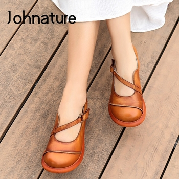 Johnature Wedges High Heels Genuine Leather Pumps Women Shoes 2020 New Spring Hook & Loop Round Toe Retro Platform - discount item  46% OFF Women's Shoes