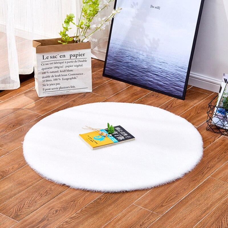 Artificial Rabbit Hair Rug Modern High-density Plush Round Carpet Noise-reduction Anti-slip Floor Mat Snow White