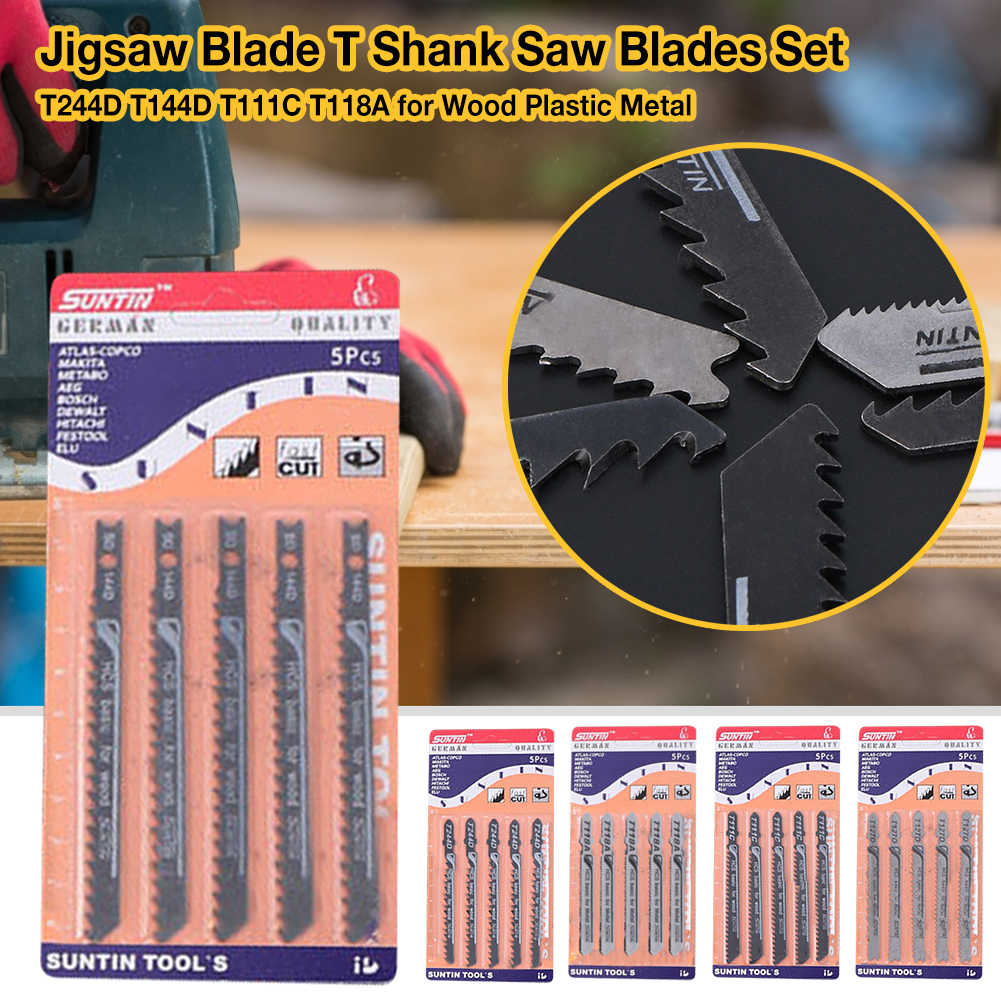 5pcs T-shank Jig Saw Blade Set Assorted Metal Steel Jigsaw Blade Fitting For Plastic Wood Cutting Tools