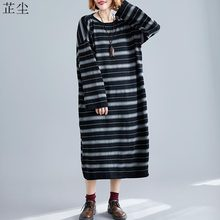 Women Knit Dress Vintage Long Sleeve Winter Knitting Striped Black Maxi Dresses Plus Size Female Elegant Sweater Dress Vestidos(China)