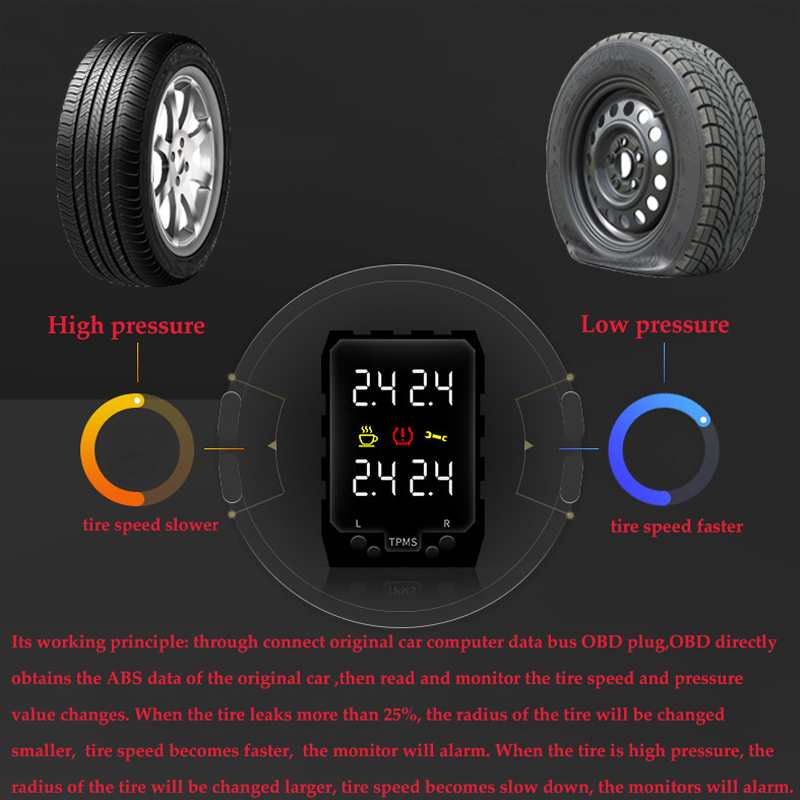 Image 2 - For Toyota CH R CHR Hybrid 2018 2019 OBD TPMS Digital Display  Tire Pressure Security Monitoring System No Need Extra SensorTire  Pressure Monitor Systems