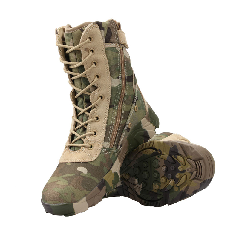 Jungle Camouflage Boots Military Combat Boots Lightweight Camo Hiking Motorcycle Shoes for Men/women with Zipper Breathable image