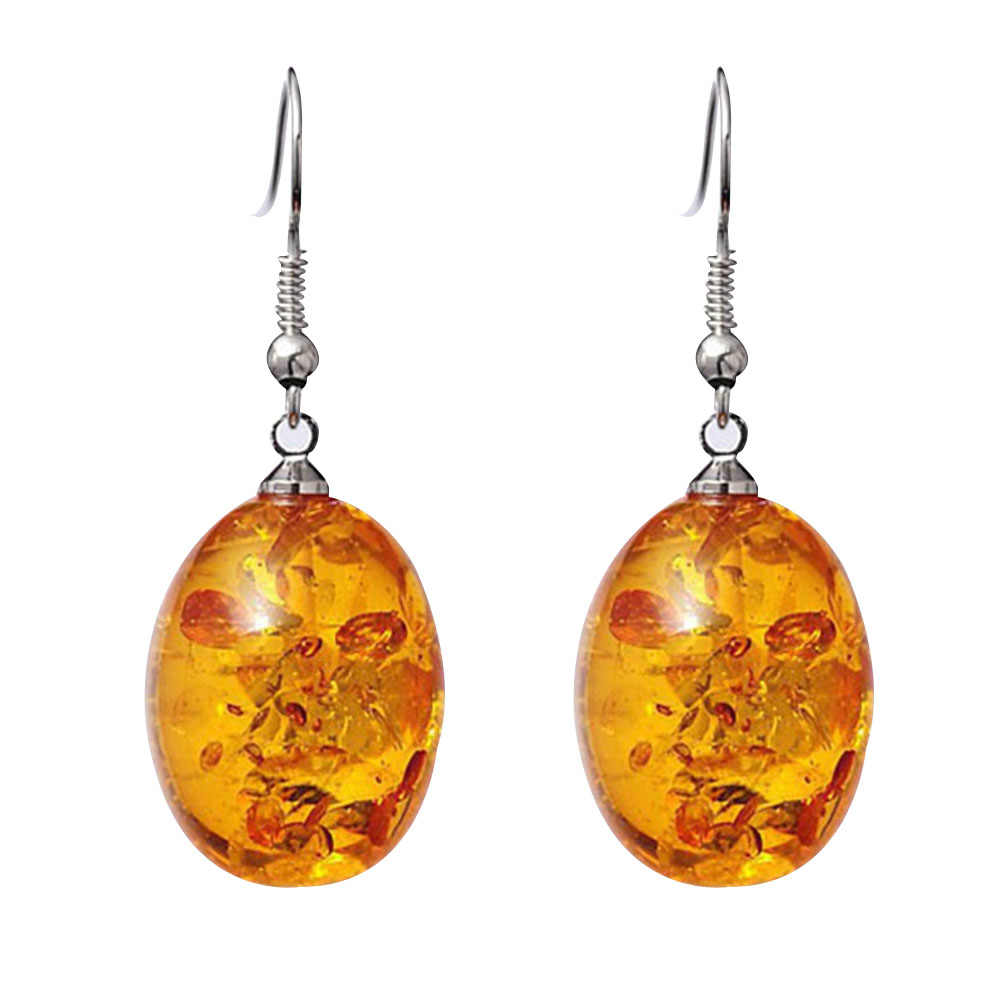 Kobiety kolczyki w stylu Vintage owalne w kształcie Faux Amber dynda wisiorek hak kolczyki kobiety Piercing biżuteria prezent nowy kobiety akcesoria