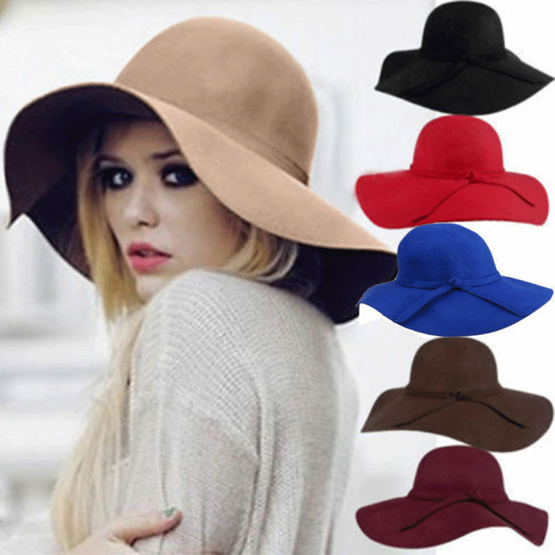 Retro Classic Women Fedora Bucket Sweet Caps Wide Brim Top Sun Hat Ladies Chapeu de Feltro Solid Fedoras image