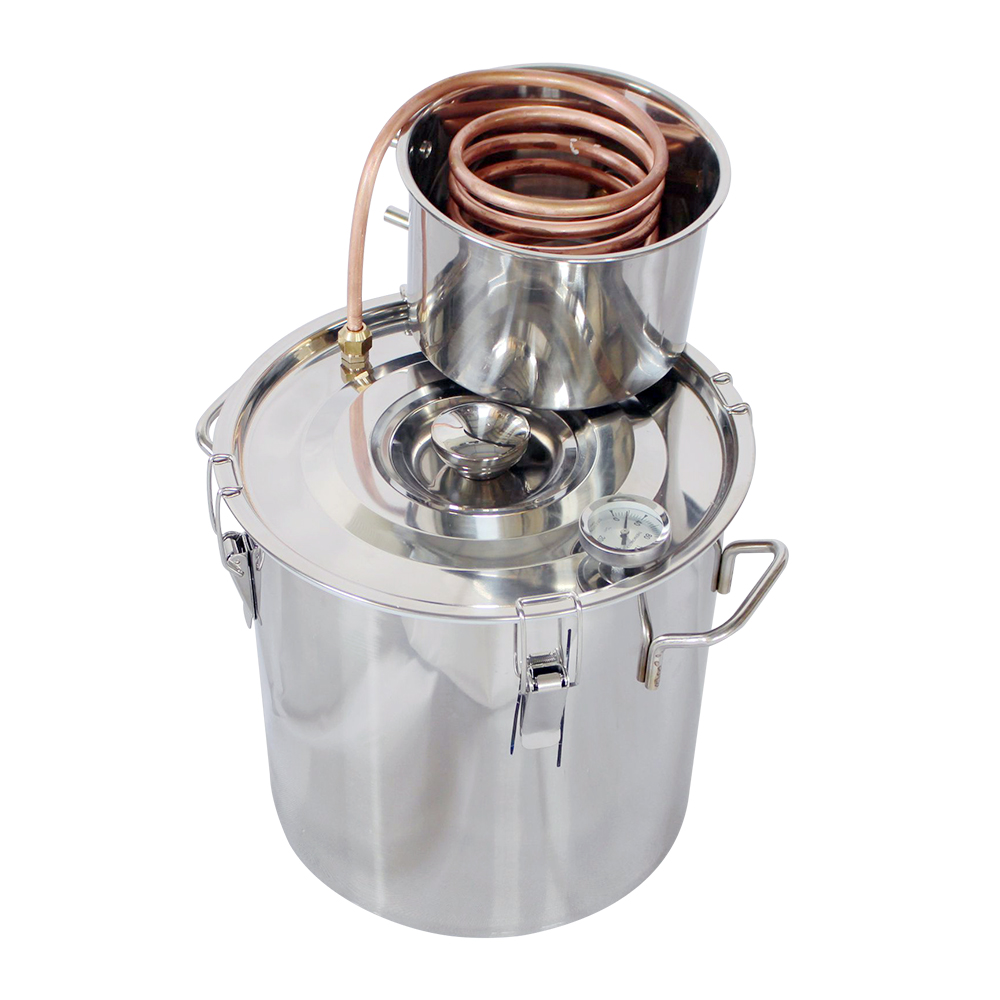 5 gallons 20L Alcohol Distiller Stainless Copper Water Alcohol Wine Distiller DIY Home Aroma Essential Oils Wine Brewing Kit image