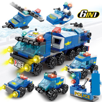 147Pcs 6 IN 1 City Police Truck Car Building Blocks Sets Kids DIY Figures Bricks Educational Toys for Children 614pcs city engineering excavator construction building blocks sets figures diy bricks creative educational toys for children