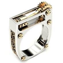 Обручальное кольцо золотого и серебряного цвета Панк, кольцо на палец, геометрическое механическое зубчатое колесо, кольцо для женщин и мужчин, современные ювелирные изделия, вечерние кольца