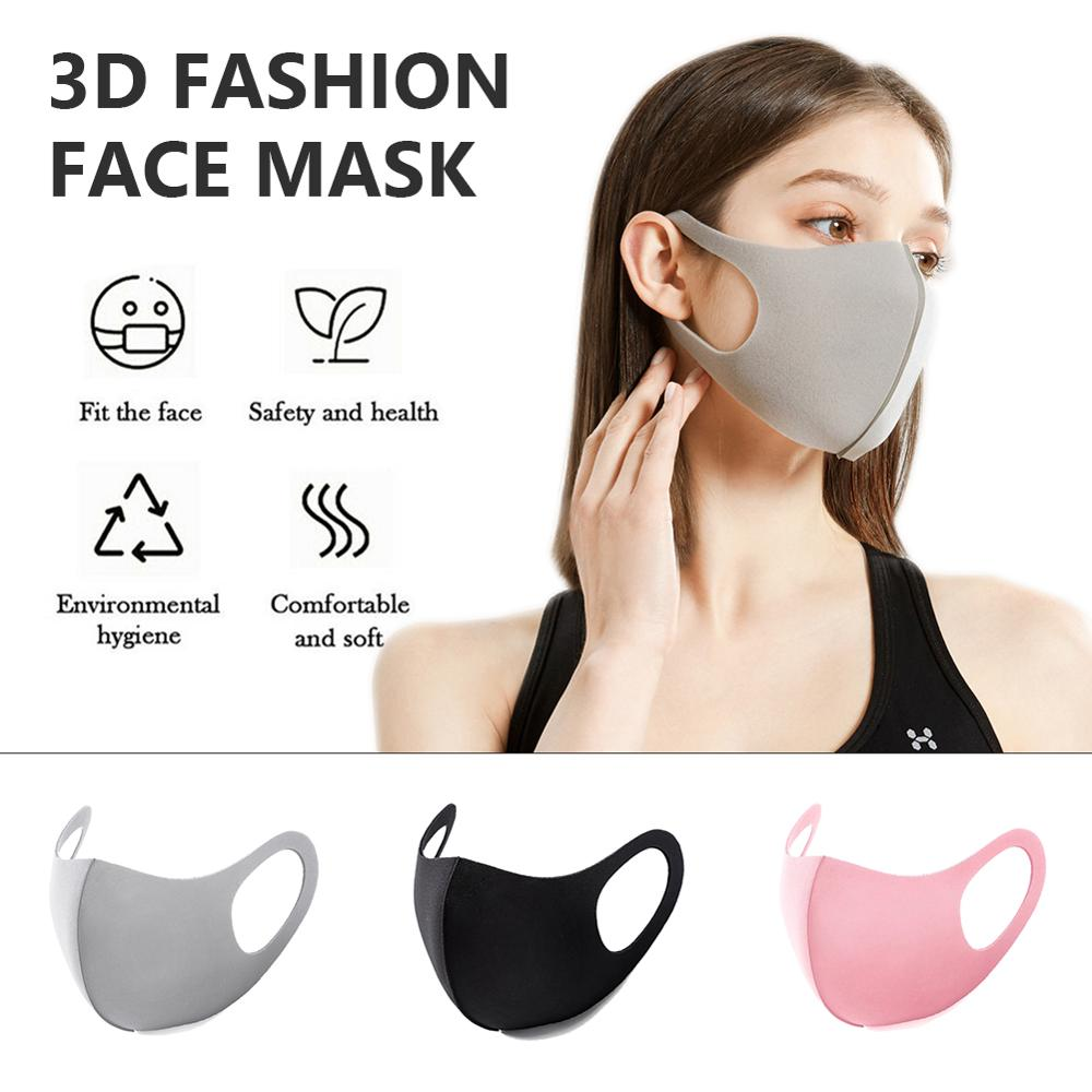 10/20Pcs Pm2.5 Face Mask Black Mouth Mask Unisex Anti Haze Dust Washable Reusable Dustproof Mouth-muffle Earloop Face Mouth Mask
