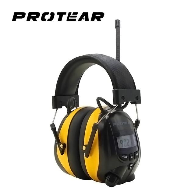 Protear NRR 25dB 청력 보호 장치 AM FM 라디오 귀고리 전자 귀 보호 슈팅 귀마개 라디오 청력 보호