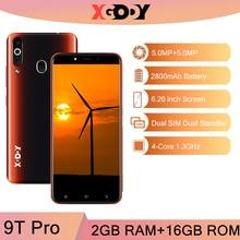Xgody teléfono inteligente 9T Pro 3G, Android, 2GB RAM, 16GB rom, Quad Core, Sim Dual, GPS, batería de 2800mAh, desbloqueo, cámara de 5,0mp, novedad de 2020