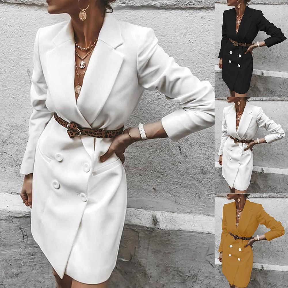 2019 Fashion Women's Autumn Long-sleeved Sexy Dress Solid Color Slim Suit Jacket Double-breasted  Dress