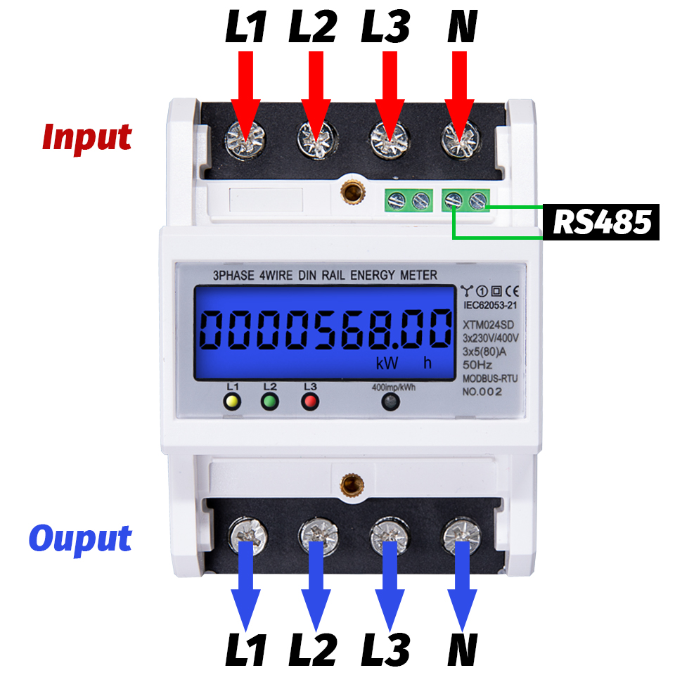 Phase Energy Wire Wattmeter Backlight 4 5 Consumption 3 Modbus 80A 380V Multifunctional Meter AC Electronic Power  50Hz RS485