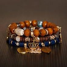 Boêmio natural madeira & pedra wrap pulseiras conjunto para mulher vintage coroa de ouro coração mão folha pingente pulseira feminina