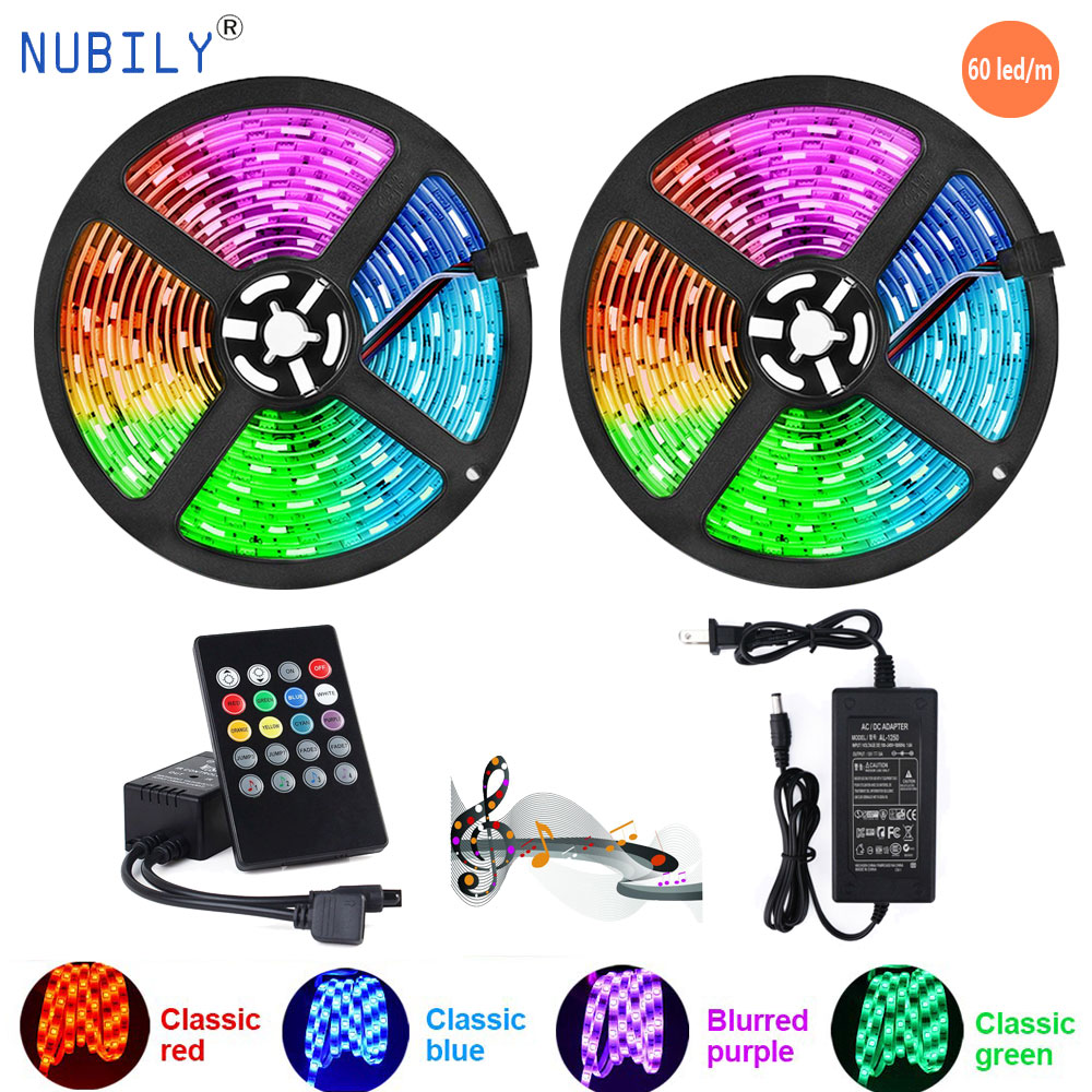 RGB Light Strips Music Sync Color Changing Rope Light 60LED/m SMD5050 LED IR Remote Controller Flexible Strip For Home Party Bed