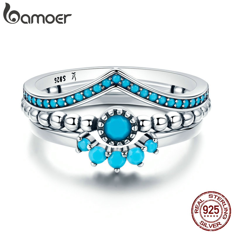 BAMOER Genuine 100% 925 Sterling Silver Us Unique As You Geometric 3 Piece Finger Ring For Women Engagement Jewelry SCR368