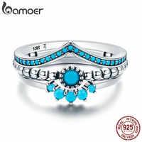 Bamoer genuine 100% 925 prata esterlina eua único como você geométrica 3 peça anel de dedo para mulher noivado jóias scr368
