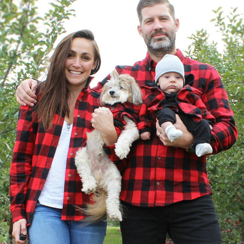 Mother Daughter Baby Clothes Family Matching Outfits Father Son T Shirt Plaid Shirt Mum Mama and Daughter Girl Red Sweatshirt