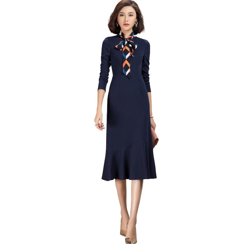 2021 primavera novo estilo casual womens manga longa magro vestido de malha