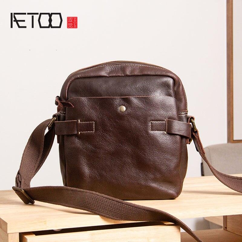 AETOO Leather men's bag, casual oblique cross bag, head leather shoulder bag