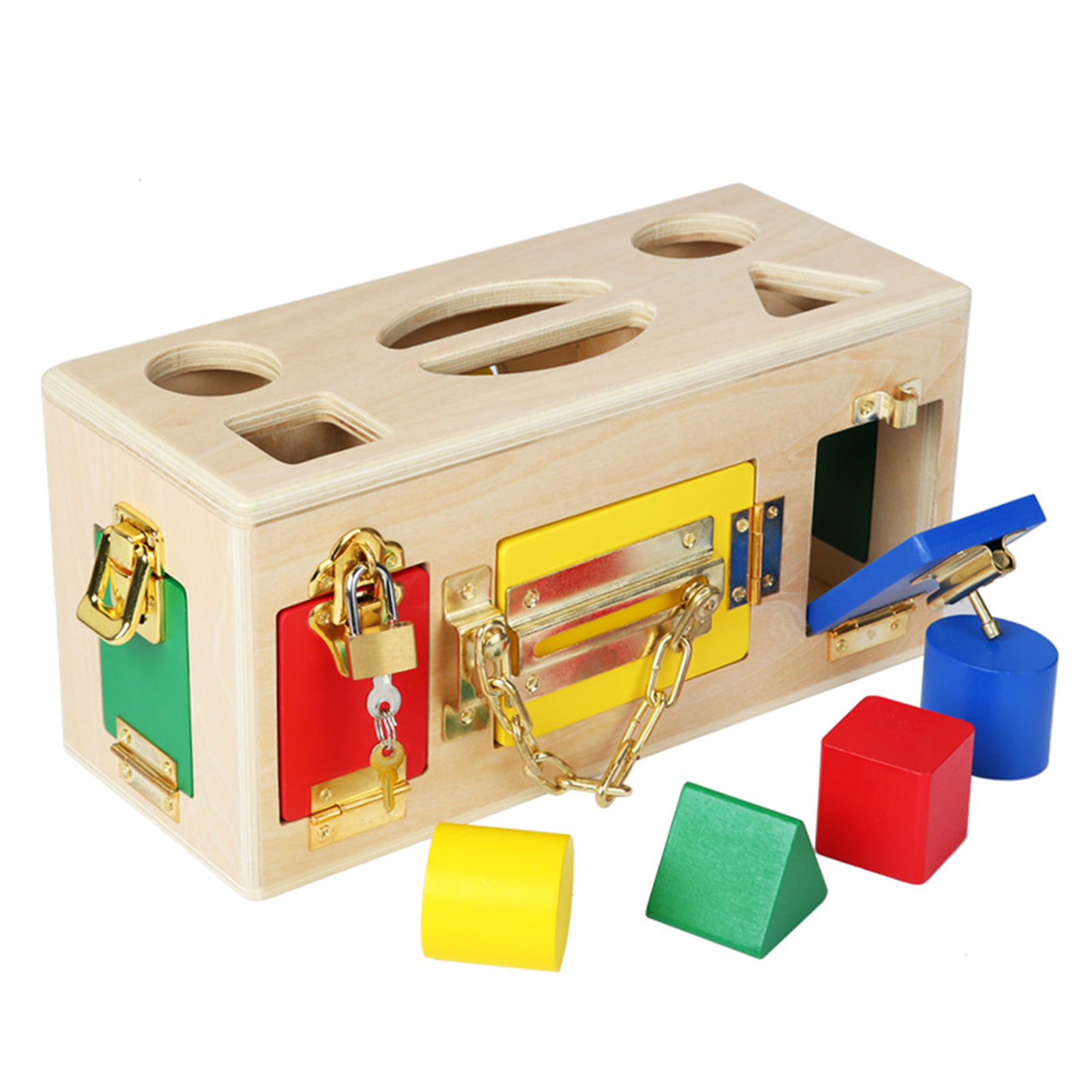 Baby Intelligence Unlock Buckle Busy Treasure Box Wooden Children Montessori Early Learning Puzzle Toys Treasure Chest