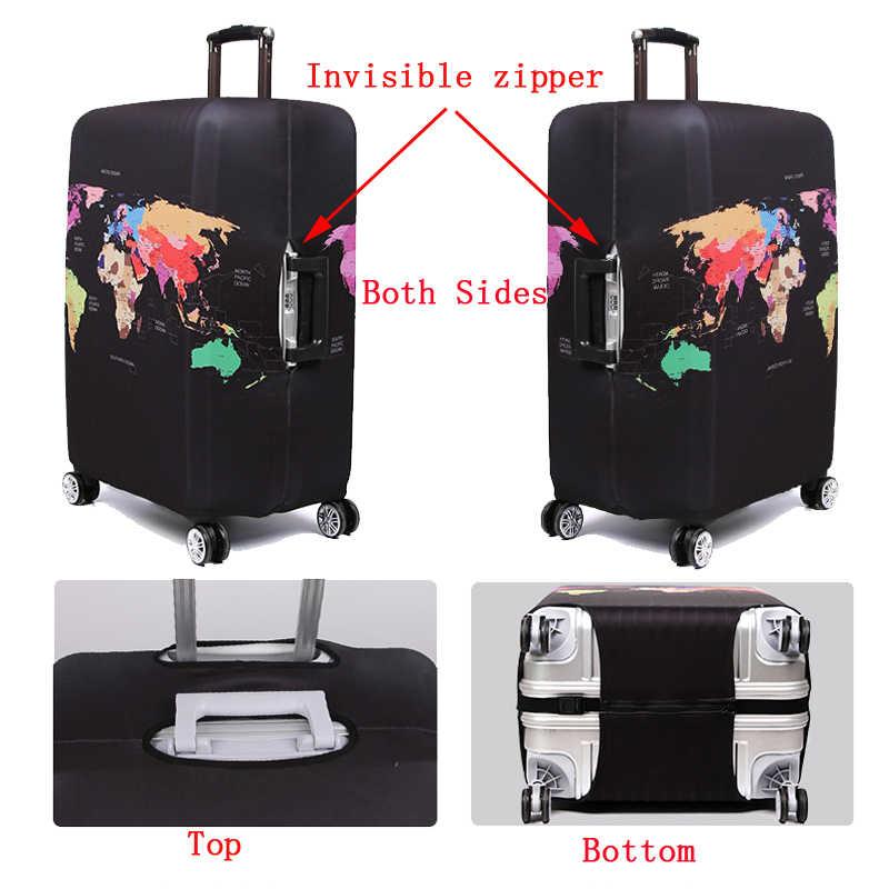 Wereldkaart Travel Bagage Koffer Beschermhoes Trolley Bagage Bag Cover Mannen Vrouwen Dikke Elastische Case Voor Koffer 272