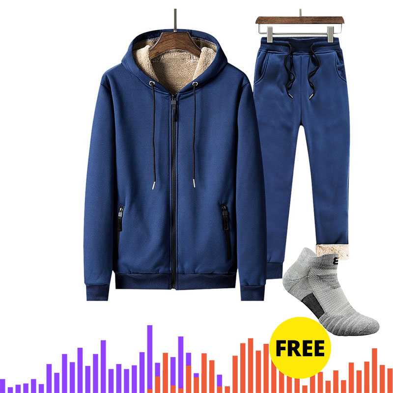 DropShipping Men's Sportswear Set Thermal Tracksuit Full Zip Hoodies Fleece Joggers Fashion Sports Mens Sweater Sweatpants Suit